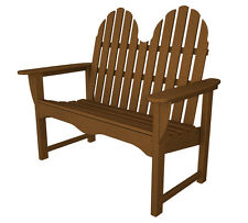 POLYWOOD Classic Adirondack 48 Inch Bench in Teak Transitional Outdoor