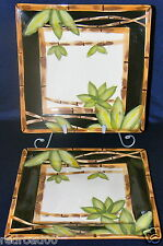 Tabletops Unlimited Set of 2 Square La Haina Bamboo Dinner Plates Discontinue
