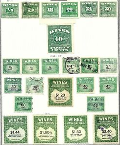 54. Lot of 24 Different Wine Revenue Stamps