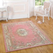 Luxury Rugs 100 Wool Thick Hard Wearing Small Large Runner Heavy Floral Modern 67 X 127cm Pink Lotus