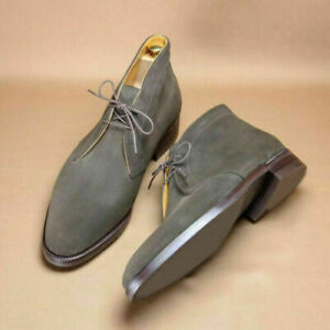 New Handmade Men's Gray Suede Leather Boots, Chukka suede Men Ankle High Boots