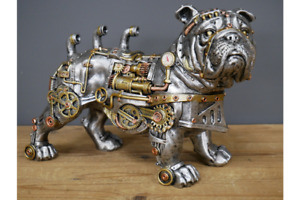 Industrial Style BULLDOG Steampunk Ornament Metal Look Resin £28.99! FREE POST