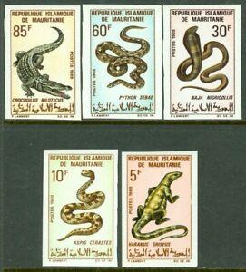 EDW1949SELL : MAURITANIA 1969 Scott #261-65 Reptiles Imperf Cplt set VF, Mint NH