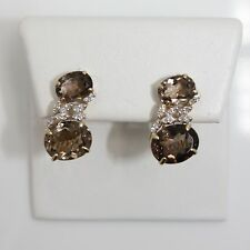 Stunning 14k Yellow Gold Smoky Quartz and Diamond (0.14 TW) Earrings