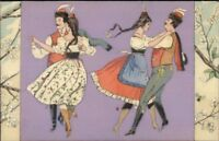 Foreign Dancers Dancing - Nature Border Purple Background DTCL 138 #4 PC