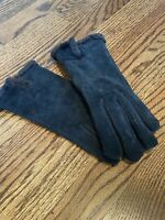Womens Vintage Thick Fur Lining Black Gloves