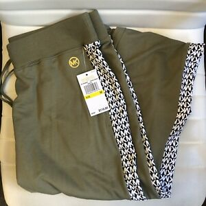 Michael Kors MK Logo Sweatpants Joggers Women's Pants Green Black MSRP $110 NEW