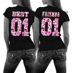 Best Friends BFF Shirts mit Camouflage Print Pink Pärchenshirts beste Freunde