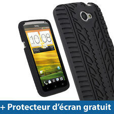 Noir Pneu Étui Housse Silicone pour HTC One X + Plus S720e Android Smartphone 1