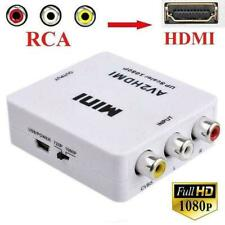 New listing Input Av Rca to Hdmi Output Video Converter Adapter Upscaler+Usb Cable Y4B1