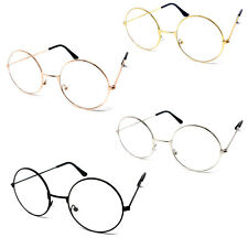 c40ebbbc4e2 Round Clear Lens Glasses Wizard Metal Frame Lennon Ozzy Novelty Joke Fancy  Dress