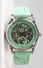 Gorgeous Women's Stainless Steel Mechanical Skeleton Watch- Turquoise. Near-Mint