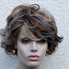 Perücke kastanie dunkelbraun  rotbraun blond gesträhnt wie Echthaar Mix