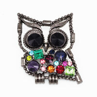 Colorful Crystal Rhinestone Cute Owl Charm Betsey Johnson Animal Brooch Pin Gift