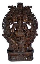 Statue de Ganesh  elephant en bois de teck 123cm 43kg -Ganesha dieu hindou  7674