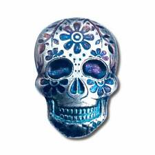 2 oz. 999 Fine Silver Sugar Skull - Day of the Dead - Marigold - 3-D - New