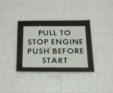 "Original  A R M Y Aufkleber  ""PULL TO STOP ENGINE BEFORE START"""