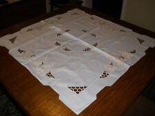 Vintage White / Silver Christmas ClothTableTopper 34 in. square