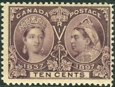 CANADA-1897 Jubilee 10c Purple.  A mounted mint example Sg 131