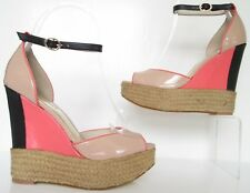 NEXT SIZE 5 WOMENS NUDE BEIGE PINK BLACK PEEPTOES ANKLE STRAPS WEDEGES SHOES