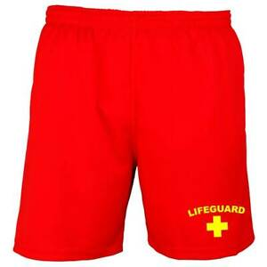 LIFEGUARD Mens Shorts S-2XL Red/Yellow Fancy Dress Beach Costume Funny Outfit