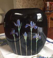 "Vintage Otagiri Blue Iris Black Pillow Vase Japan 7"" Tall Wedding Shower WOW!"