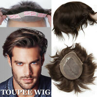 "Straight 8""x10"" Toupee Wig Virgin Human Hair Systems MPU+MONO Lace Base US SALE"