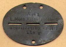 WEHRMACHT ID-Tag DOG TAG ORIGINAL WWII - KITTLITZTREBEN - MADE OF ZINC