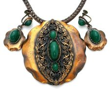 Roslyn Hoffman Copper Necklace & Earrings Set with Green Chrysophase Vintage