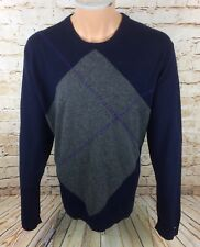 Tommy Hilfiger Diamond Jumper Sweatshirt Blue Wool Cotton Blend Sz XL Mens