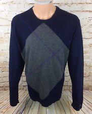 Tommy Hilfiger Diamond Jumper Sweatshirt Blue Wool Cotton Blend Sz XL Mens