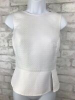Anne Klein Peplum White Quilted Sleeveless Blouse Top Shell Keyhole Back Size 2