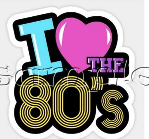 IRON ON TRANSFER RETRO I LOVE EIGHTIES 80S 80 PARTY 15x15cm