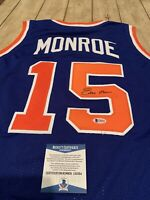 Earl Monroe Autographed/Signed Jersey Beckett COA New York Knicks NY The Pearl