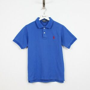 AE87 Ralph Lauren Polo Men Blue Cotton Short Sleeve Top Shirt Custom Fit Size M