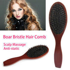 Natural Boar Bristle Hair Brush Comb Oval Anti-static Paddle Massage Scalp Hot