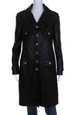 Chanel Para Mujer Chaqueta De Cuero Manga Larga Botones Negro Talla 42 08P europeo