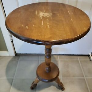 Vintage Pedestal Accent Table End Side Wood Round Oak Plant Stand Decorative