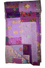 Silk Sari Patchwork Kantha Quilt Handmade Indian Kantha Blanket