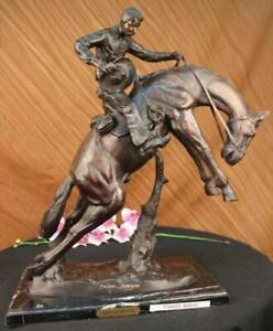 "Bronco Twister"", Hot Cast Bronze Cowboy on Horseback Sculpture Hot Cast Figurine"