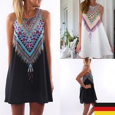 DE Damenmode Stoffdruck Sommer Chiffon Mini Strandkleid Partykleid Minikleider