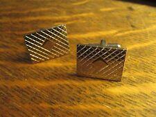 Cufflinks Vintage 1960's Old Chrome Silver Lozenge Diamond Rectangle Retro Style