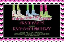 Roller Skating Skates Birthday Party Invitation Any Colors Chevron