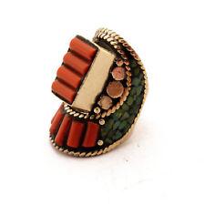 "Turquoise Coral Ring 9"" Nepalese Tibetan Handmade Tibet Nepal By Eksha RG48"