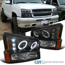For 03-07 Silverado Avalanche Black Halo Projector Headlights w/ Bumper Lamps