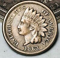 1863 Indian Head Cent Penny 1C CN High Grade FULL LIBERTY War Era US Coin CC5608