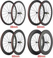 24/38/50/60/88mm Bicycle Bike Wheels Carbon Fiber Wheelset 700C Clincher/Tubular