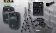 SET COMPLETO CANTO DJ - 2 CASSE + SUPPORTI + MICROFONO + CAVI + MIXER 4 CANALI