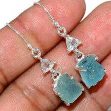 Aquamarine Rough & White Topaz 925 Sterling Silver Earring Jewelry AE145404