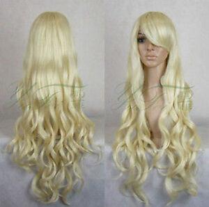 Cosplay Wig New Long Platinum Blonde Wavy Wigs 100cm